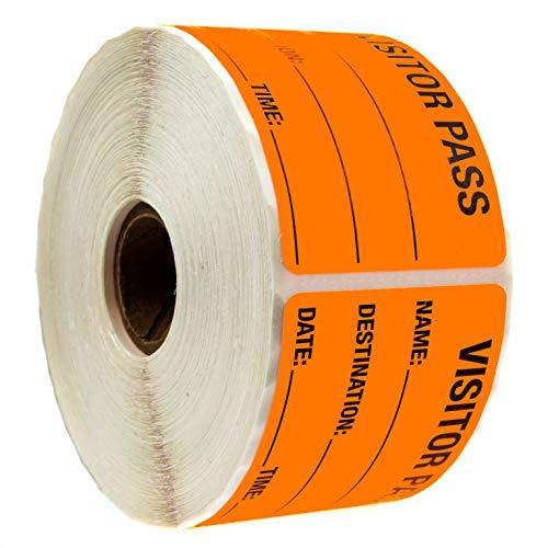 Orange Visitor Pass / 500 Fluorescent Orange Visitor Identification Labels Stickers