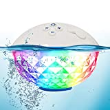 FirstE Portable Wireless Bluetooth Speaker LED Light Show, IPX7 Waterproof Floating Pool Speakers, Built-in Microphone Music Box Speaker for Hot Tub, Spa, Jacuzzi, Beach, Party, Home, Outdoors (White)