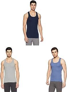 Jockey Men's Solid Cotton Racer Back Vest-Pack of 3 (X-Large_Navy_Grey Melange_blue)