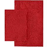 LuxUrux Bathroom Rug Set–Extra-Soft Plush Bath mat Shower Bathroom Rugs,1'' Chenille Microfiber Material, Super Absorbent (Rectangular Set, Red)