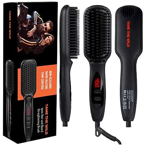 """Tame's Beard Straightener for Men - Anti-Scald Beard Straightening Comb - Ceramic Heated Beard Brush - 12 Temp Settings - Built In Ionic Generator - LED Display - Best for Beards Over 2"""" Long - 51nxVpSt1RL - Tame's Beard Straightener for Men – Anti-Scald Beard Straightening Comb – Ceramic Heated Beard Brush – 12 Temp Settings – Built In Ionic Generator – LED Display – Best for Beards Over 2″ Long"""