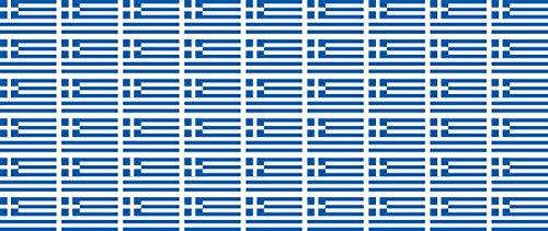 Mini Aufkleber Set - Pack glatt - 20x12mm - Sticker - Fahne - Griechenland - Flagge - Banner - Standarte fürs Auto, Büro, zu Hause & die Schule - 54 Stück