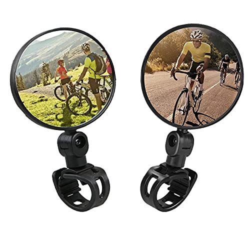 YANGJI 2 Pezzi Specchietti Bici,Specchietto retrovisore Bicicletta,Regolabile Girevole Manubrio Specchio Convesso, per Mountain Road Bike.