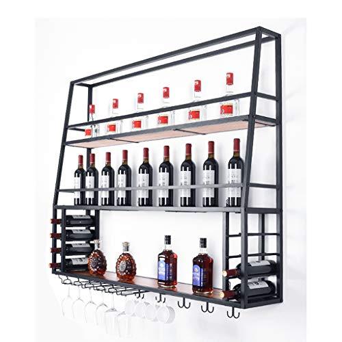 Botelleros Estante del vino vino vino Gabinete Colgando botellero de vino rojo de hierro forjado estantes de la pared del hogar del estante Bar Bar Decoración Negro Soporte botellero