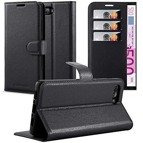 Cadorabo Hülle für BlackBerry Key 2 in Phantom SCHWARZ - Handyhülle mit Magnetverschluss, Standfunktion & Kartenfach - Hülle Cover Schutzhülle Etui Tasche Book Klapp Style
