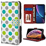 YaoLang iPhone X/10/Xs Wallet Case, Polka Dot Gray PU Leather Standable Wallet Phone Case with Card Holder Magnetic Hold for iPhone X/10/Xs