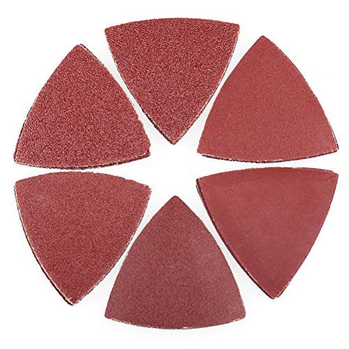 Sanding Pads for Oscillating Multitool - 60PCS Hook and Loop Sandpaper, 40 60 80 120 180 240 Assorted Grits Triangle Sanding Sheets by LotFancy, 3-1/8 Inch (80mm)