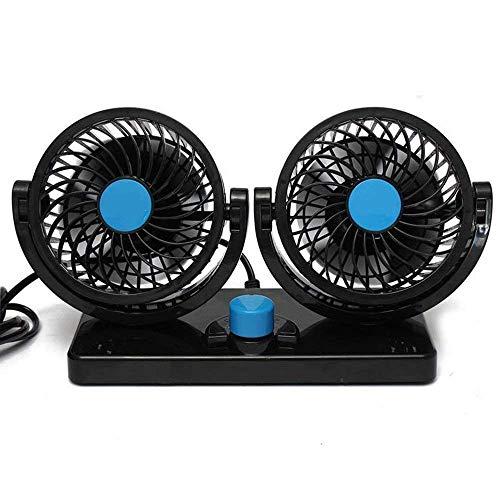 BestFire, doppelköpfiger Auto-Kühlventilator fürs Armaturenbrett,12 V, um 360 Grad drehbar, mit 2 Stufen