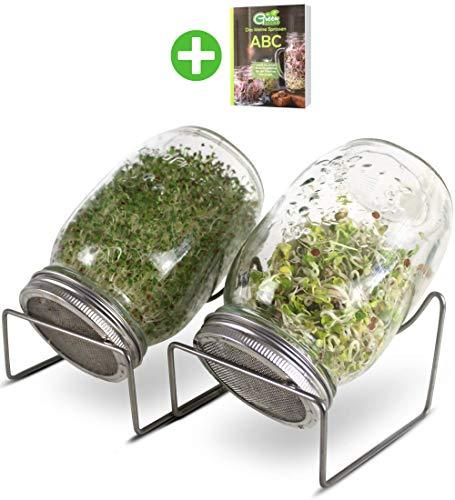 GreenSeeds Sprossenglas Keimglas 2er Set 1000ml mit hochwertigem Edelstahl-Gitterdeckel, Ständer + GRATIS Sprossen-ABC