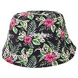 Blackskies Oahu Bucket Hat | Unisex Sonnenhut Fischerhut Anglerhut Herren Damen Grün Blumenmuster