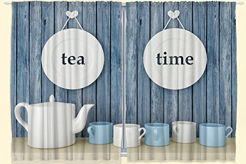 """Ambesonne Tea Time Kitchen Curtains, Country Themed Rustic Inspired Lettering on Plates Cups and Pot Illustration, Window Drapes 2 Panel Set for Kitchen Cafe Decor, 55"""" X 39"""", Blue White"""