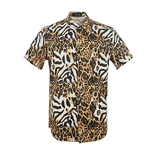 UPAAN Mens Leopard Zebra 3D Printing Shirt Fashion Graphic Casual Button Down Short Sleeve Shirts Brown