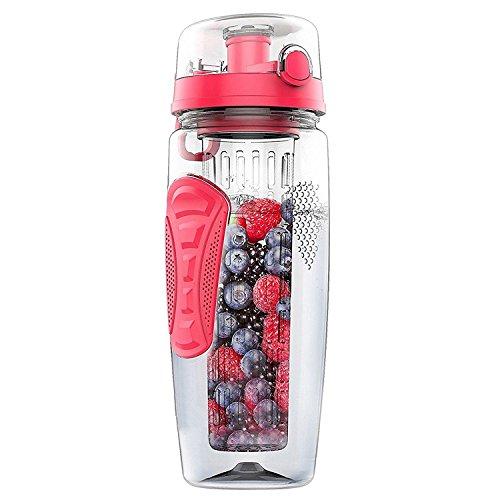 SNOWINSPRING 1000ml / 32oz Botella de Agua de infusor de Infusion de Fruta Botella de plastico de Deporte para desintoxicacion Salud Rosa