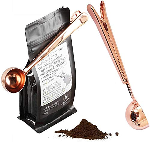 LuoCoCo Kaffee löffel aus Edelstahl, Multifunktional 2 in 1 Kaffeedosierlöffel mit Beutelversiegelungsclip, Kaffeemaß für 7 g Kaffeepulver Espresso Milchpulver Kaffeetüten Kaffeebeutel, Roségold