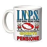 Mr. Gadgets Tazza Simpatica per Festa Pensione con Varie Scritte (I.N.P.S Goditi la Pensione Uomo)