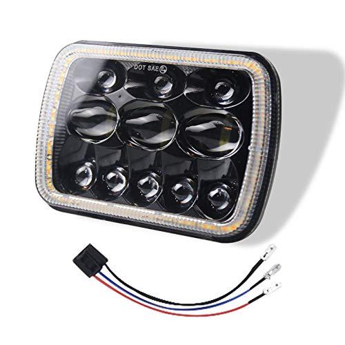 Xyamzhnnn Lámparas de Faros LED de Forma Cuadrada IP67 para Jeep Wrangler con Apertura, 7 Pulgadas H4 DC 9V-30V 5000LM 6000K / 3000K 45W