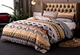 Xiongfeng Bohemian Duvet Cover King Floral Boho Chic Bedding Set Southwestern Ethnic Tribal Comforter Cover 130gsm Soft Microfiber Reversible Duvet Covers Exotic Style