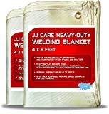 JJ CARE Heavy Duty Welding Blanket 4x6 ft (Pack of 2) Fiberglass Welding Curtain [850GSM Thick] Weld Blanket 24 Sq Ft Welding Shield, Weld Curtain for Industrial and Home Use