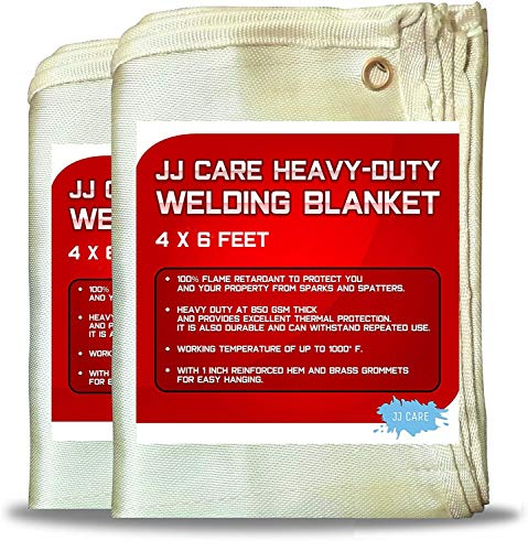 JJ Care Welding Blanket (Pack of 2) Premium (4x6 ft) Heavy Duty (850 GSM Thick) Fiberglass, Fire Retardant, Welding Curtain Cover, Welding Shield, Fire Blanket, Fireproof, Thermal Resistant Insulation