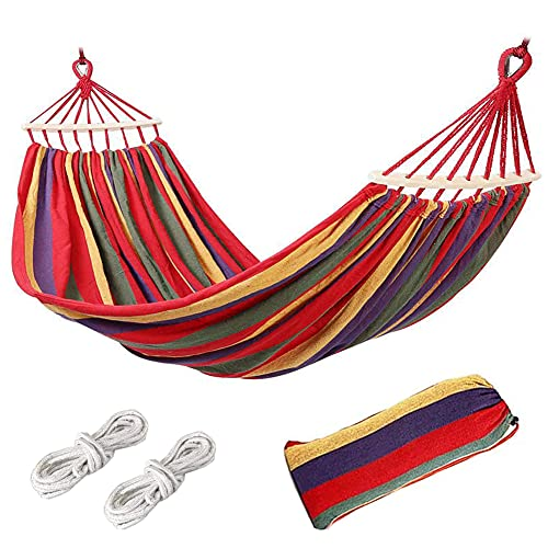 Piashow Hamaca Colgante de Tela, 280x80CM Hamacas colgantes exterior para Camping, Hamaca de Algodón al Aire Libre Cama Portátil de Lona,300KG Carga, para Jardín Acampada Exterior, Playa, Patio