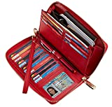 Chelmon Womens Wallet Leather RFID Blocking Purse Credit Card Clutch(pebble red)