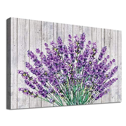 Vintage Flower Wall Art Bedroom Decor Purple Lavender Wood Board Bathroom Canvas Wall Art Modern Botanic Canvas Artwork Picture Living Room Bedroom Office Kitchen Home Framed Ready to Hang 12' x 16'