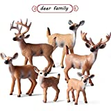 L.DONG 6 Pack Deer Figurines Toy, Forest Animals White-Tailed Deer Family Figures, Plastic Woodland Creature Cake Topper for Baby Shower Birthday Decoration
