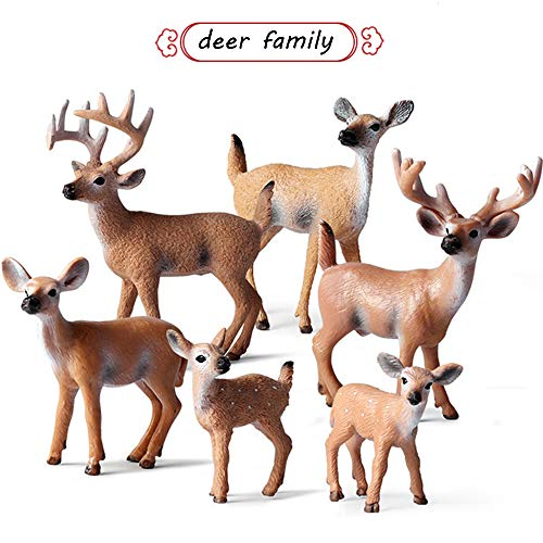 L.DONG 6 Pack Deer Figurines Toy  Forest Animals White-Tailed Deer Family Figures  Plastic Woodland Creature Cake Topper for Baby Shower Birthday Decoration