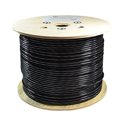 Dripstone Bare Copper 500ft CAT6 Outdoor/Direct Burial Solid Ethernet Cable 23AWG CMX Waterproof Wire HDPE Insulated Polyethylene (PE) Pass Fluke Test for Indoor/Outdoor Installations Drum Black
