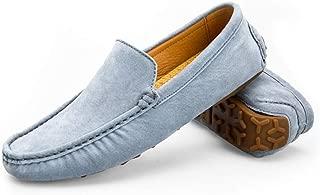8HAOWENJU Men's Fashion Suede Moccasins Comfortable Casual Shoes Flats,Blue, Gray, Khaki