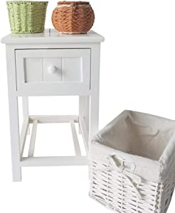 Eine-shop Nightstand End Table Country Style Two-Tier Night Table with Drawer & Basket for Bedroom Hallway Entryway Closets White