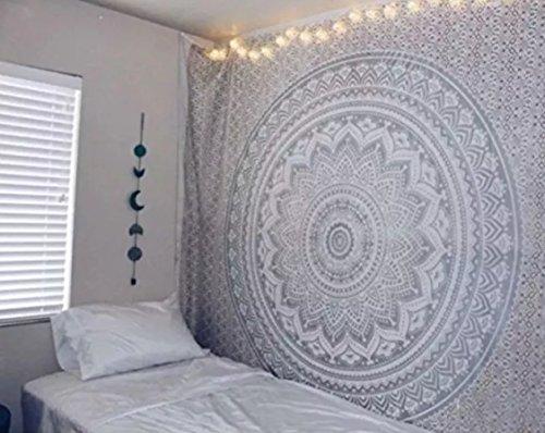 RawyalCrafts Tapisserie original Argent ombre, ombre indien mur tapisserie Mandala Pensée magique à suspendre