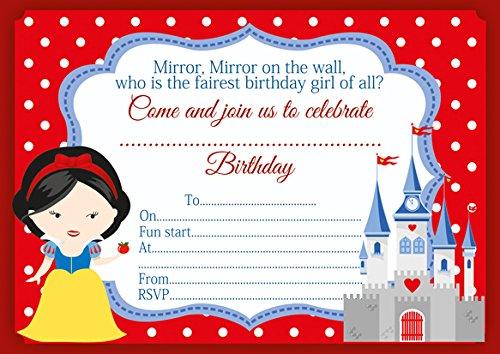 10 x Blanc Neige Enfants Invitations Fête d'anniversaire