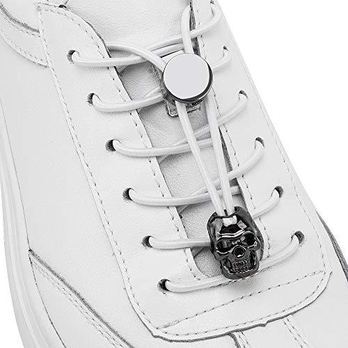 Ifrich No Tie Elastic Lazy Shoelaces Adjustable Metal Aglet Lock(Skull, Crown, Lion, Horn)