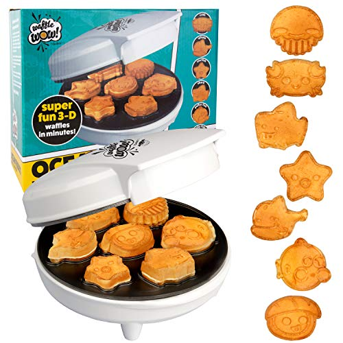 Sea Creature Mini Waffle Maker- Create 7 Different Ocean Animal Shapes in Minutes, Make Breakfast Fun and Cool for Kids & Adults w/ Novelty Aquatic Pancakes - Electric Non-Stick Waffler Iron, Fun Gift