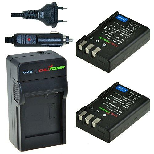 2x Batería + Cargador ChiliPower Nikon EN-EL9, ENEL9 1300mAh para Nikon D3000, D5000, D40, D60, D40X, D3X