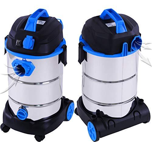 Masko® Industriestaubsauger – blau, 1800Watt ✓ Mit Steckdose ✓ Blasfunktion ✓ GS-Geprüft | Mehrzwecksauger zum Trocken-Saugen & Nass-Saugen | Industrie-Sauger verwendbar mit & ohne Beutel | Wasser-Staubsauger beutellos mit Filterreinigung - 2