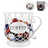 Coffee Pod Holder for K Cups, Coffee Capsule Holder, K Cup Holders for counter, Coffee Pod Storage Organizer, Kpod Container (White)