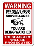 Mysignboards Warning This Property Under 24 Hour Video Surveillance Sign Security CCTV Aluminum - Metal - You are Being Watched!!!