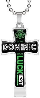 FamilyGift Funny St Patricks Day Accessories - Dominic World`s Lucky Luckiest Name Ever - Ideas Gift for Men, Husband, Dad - Shamrock Cross Pendant Chain Necklace