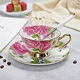 GIVO Tazas y platillos de té de Porcelana Juego de Vasos de Taza de café de Hueso