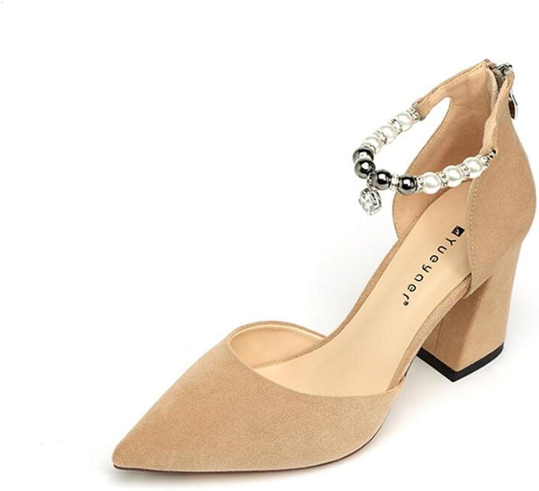 DALL Pumps Ly-573 Mode Perlen Frühling Und Sommer Damenschuhe Rau Schuhabsatz Flacher Mund High Heels Sandalen 8,5 Cm Hoch (Farbe   Beige, Größe   EU 38 UK5.5 CN38)