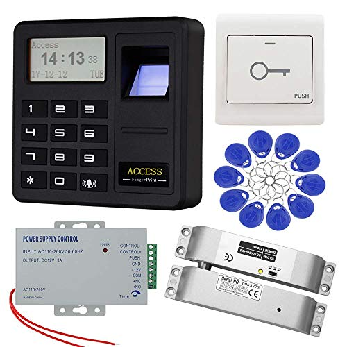 KDL RFID Fingerabdruck Zugangskontrollsystem Kit mit ausfallsicherem DC12V Elektroschloss, Türausgangsentriegelung, für Eintür Zugangssystem