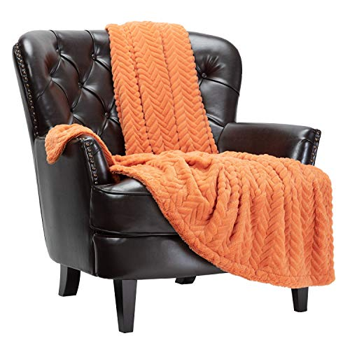 Orange Plush Throw Blanket
