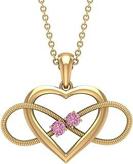 أكتوبر بيرث ستون - قلادة قلب إنفينيتي مع التورمالين الوردي