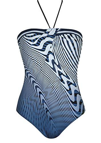 Sunflair Badeanzug Californian Blue Cup C, Farbe blau/weiß, Größe 46