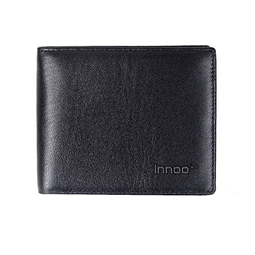 Portafoglio InnooTech RFID Vera Pelle Italiana Nero Wallet Portafoglio alla Moda da Uomo con Protezione RFID Portafoglio da Viaggio con Sistema Anti-RFID Portafoglio di Credito con Protezione Carte