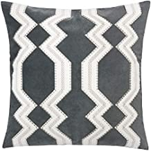 Homey Cozy Gray Throw Pillow Cover,Large Premium Applique Geometric Tie Velvet Sofa Couch Pillowcase Modern Home Decor 20x20,Cover Only