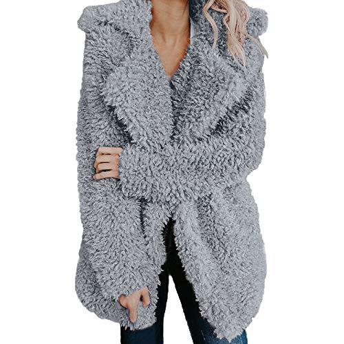 Riou Kapuzenjacke Damen Mäntel,Winter Warmer Hoodie Pullover lang Strickjacke Winterjacke Frauen Fleece Warme Künstliche Wollmantel Jacke Revers Winter Oberbekleidung (XL, Grau)