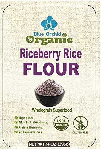 Organic Riceberry Black Jasmine Rice Flour Fine Thai Rice Flour for Baking Aromatic (14 OZ)